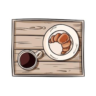 Завтрак в поднос. круассан с кофе на декоративный старый деревянный деревенский поднос каракули. иллюстрация взгляд сверху нарисованная рукой с черным кофе и печеньем. изображение на белом фоне