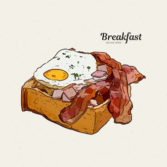 Breakfast in toast with eggs and bacon. hand draw sketch