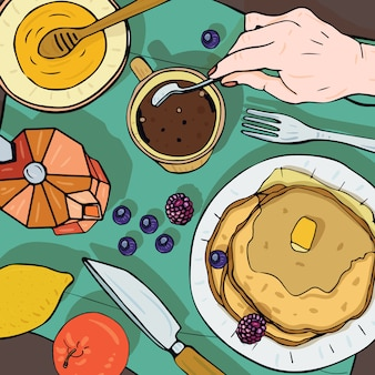 Breakfast top view. square illustration with luncheon. healthy, fresh brunch coffee, pancakes and fruits. colorful hand drawn  illustration.