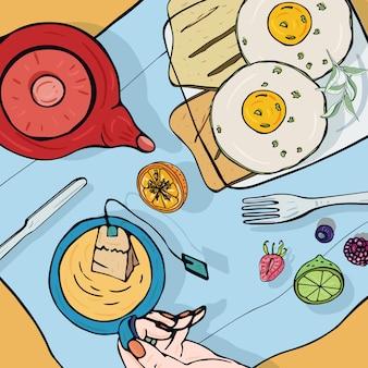 朝食のトップビュー。ランチョンと正方形のイラスト。ヘルシーで新鮮なブランチティー、サンドイッチ、卵、フルーツ。カラフルな手描きイラスト。