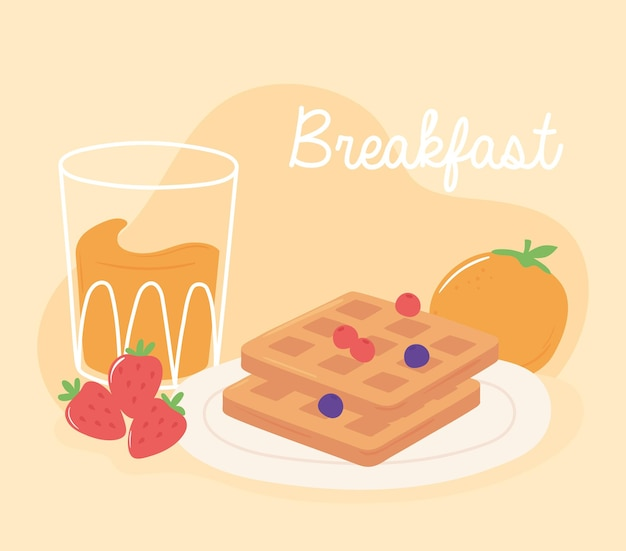 Завтрак вафельный апельсиновый сок и клубника вкусная еда мультфильм иллюстрация