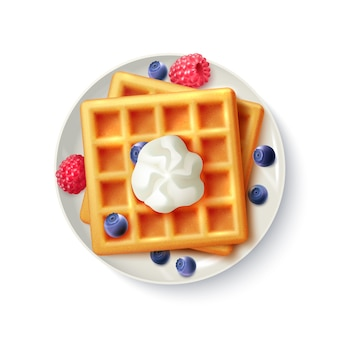 Breakfast waffles realistic top view image