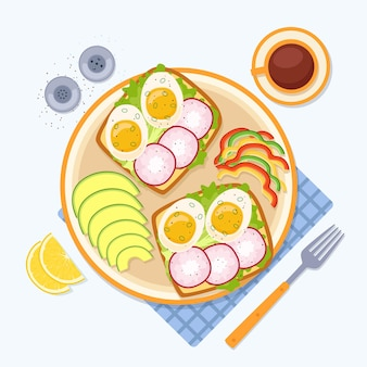 Breakfast with avocado, pepper, toasts with egg and radish, coffee, vector illustration
