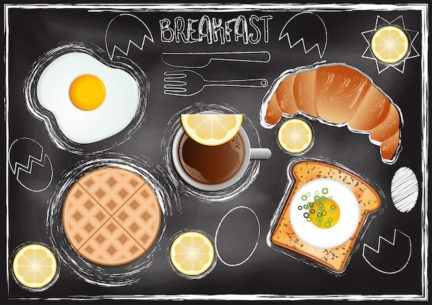 Breakfast with chalkboard background in hand draw style