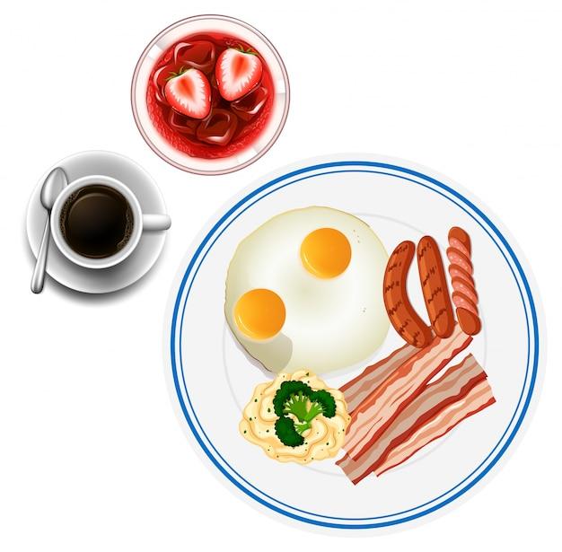 계란과 차로 아침 식사