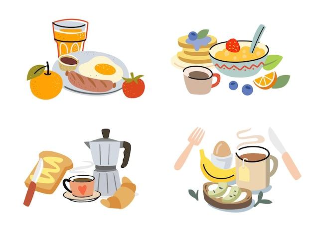 Завтрак с едой и напитками