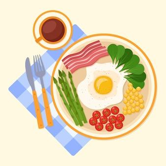 目玉焼き、トマト、トウモロコシ、野菜、アスパラガスとベーコン、コーヒー、ベクトルイラストと朝食