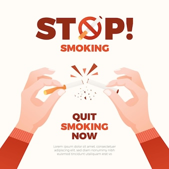 Breaking a cigarette quit smoking