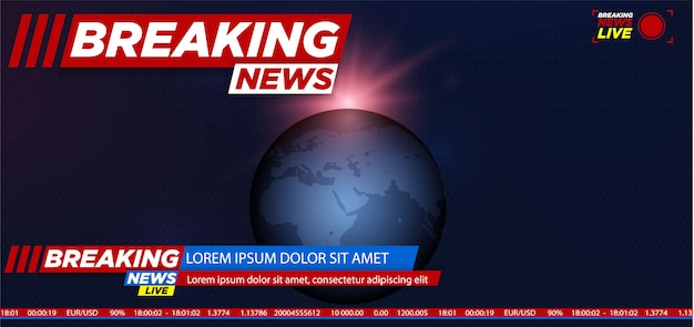 Breaking news background with planet