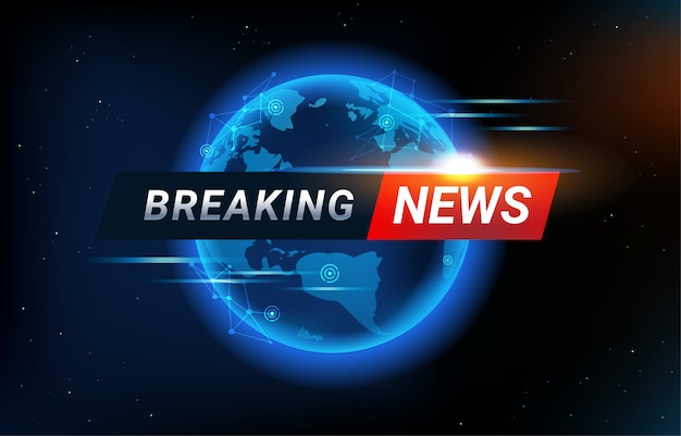Breaking news background with world map backdrop. global connectivity line and headline bar for modern futuristic news template.