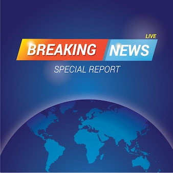 Breaking news banner template with world globe map for screen out television