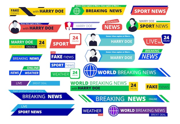 Breaking news banners. broadcasting television interface labels user name and logotype text graphic bar