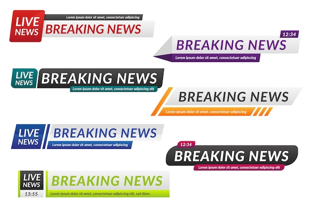 Breaking news banners isolated on white background