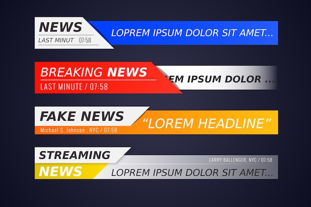 Breaking news banners set