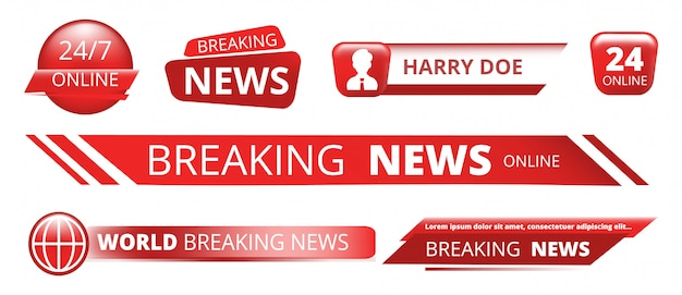 Breaking news banners. television broadcast header   on white background