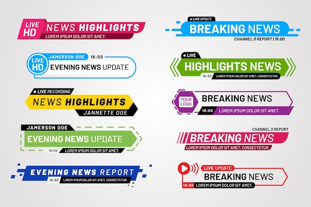 Breaking news banners template concept