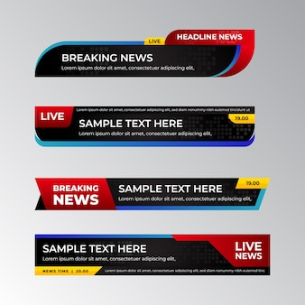 Breaking news banners template design