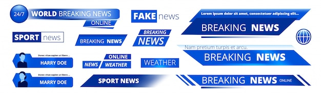 Breaking news. broadcasting banners tv sport weather video interface graphic