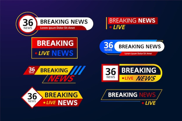 Breaking news collection of banners