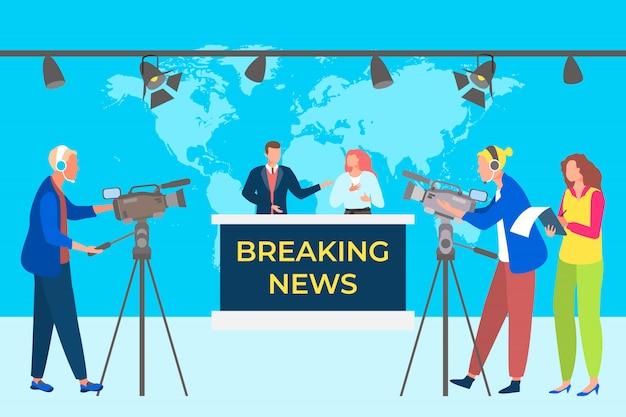 速報ニュースコンセプトイラスト。テレビスタジオ放送番組。カメラでビデオを記録するグループオペレーター。