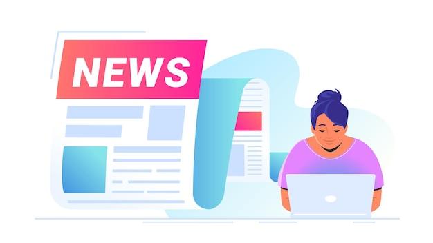 世界、エンターテインメント、政治の最新情報の通知として飛び出す最新ニュース。ノートパソコンと一人で座って、毎日のニュースやトップストーリーを読んでかわいい女性のベクトルイラスト