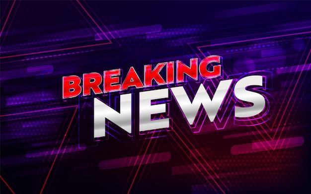 Breaking news headline on neon dynamic background