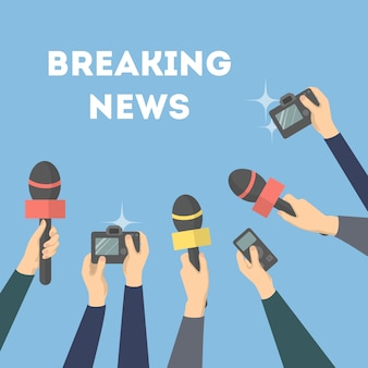 Breaking news illustration. hands with microphones and camera.