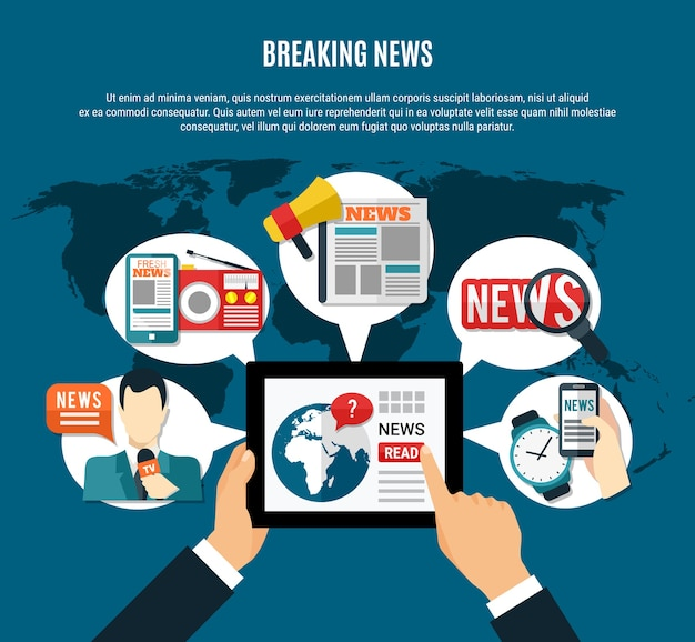 Breaking news illustration with fresh  information on tablet screen tv anchor newspaper and radio receiver round symbols