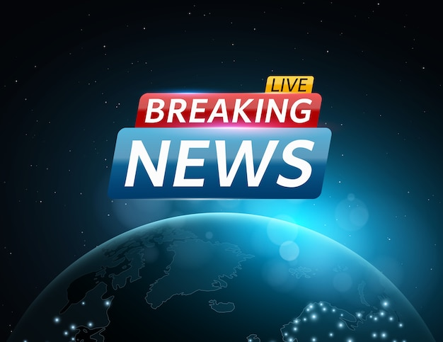 Breaking news live. abstract futuristic background with a glowing blue planet earth.