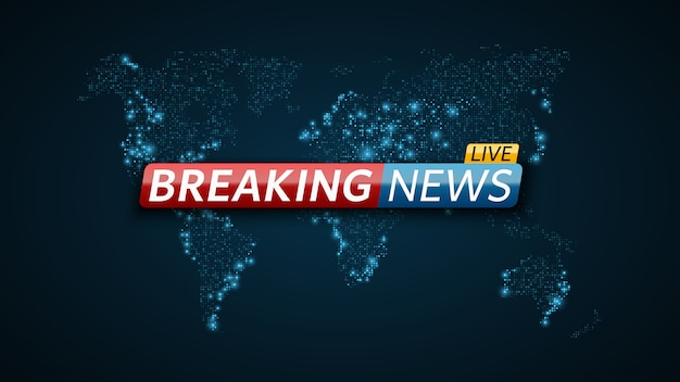Breaking news live. abstract futuristic background with a glowing blue world map. live on tv.