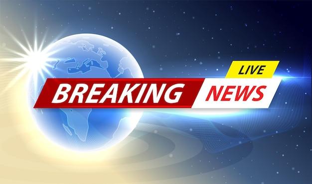 Breaking news live banner on world map background, vector illustration.