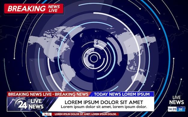 青の世界地図上にライブニュース速報