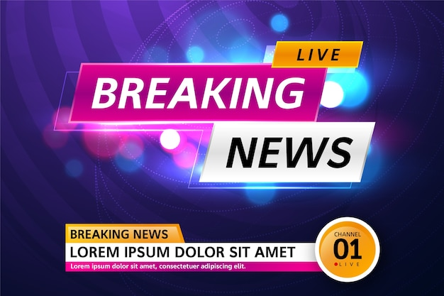 Breaking news live streaming on tv banner