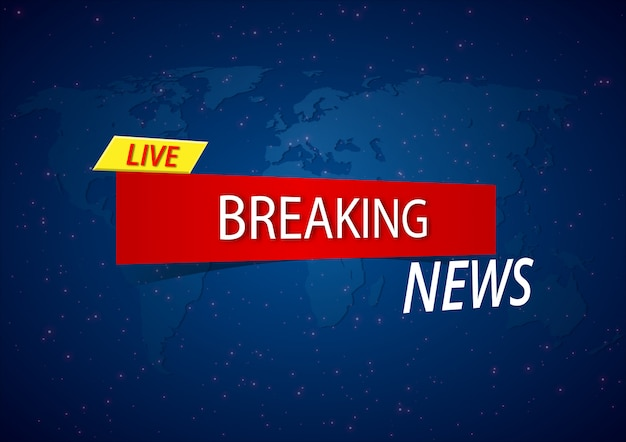 Breaking news live on a world map background