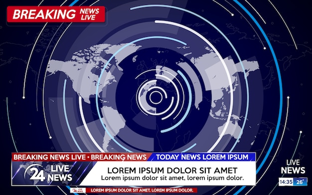 Breaking news live on world map on blue