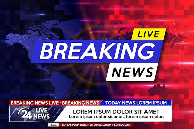 Breaking news live on world map.