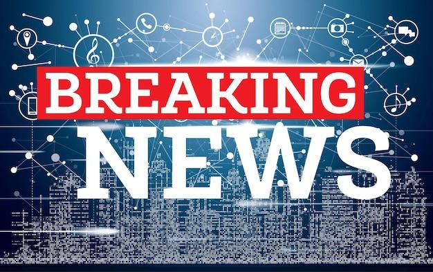 Breaking news on neon city skyline background. tv news design. vector illustration.
