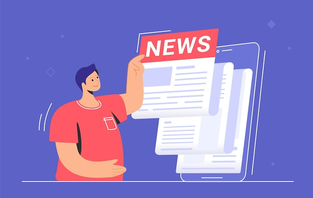Breaking news notification of latest updates for world, entertainment and politics. flat vector illustration of cute man standing near a big smartphone and reading daily news and top stories