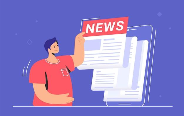 世界、エンターテインメント、政治の最新情報に関する最新ニュースの通知。大きなスマートフォンの近くに立って、毎日のニュースやトップストーリーを読んでかわいい男のフラットベクトルイラスト