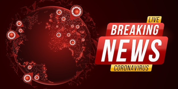 Breaking news report covid-19. corona virus futuristic globe. dangerous cellular infection. planet earth from space with coronavirus flu outbreak.