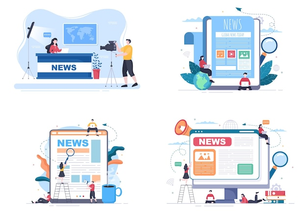 Breaking news reporter background vector illustration with broadcaster or journalist on the monitor about information incident, activities, weather and announcements