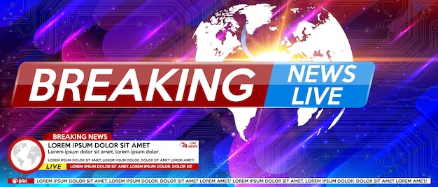 Breaking news screen saver live on colorful background.