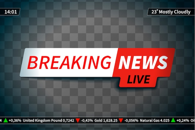 Breaking news screen saver on transparent background