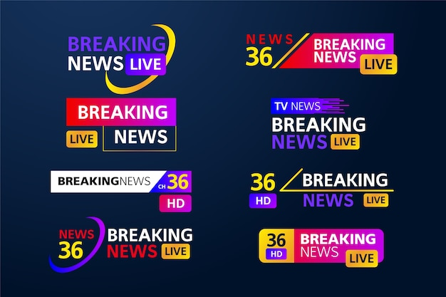 Breaking news set of banners