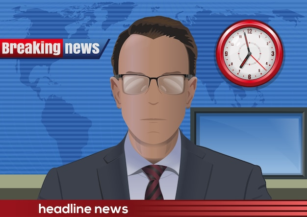 Breaking news. silhouette of a man with glasses. news announcer in the studio.  illustration