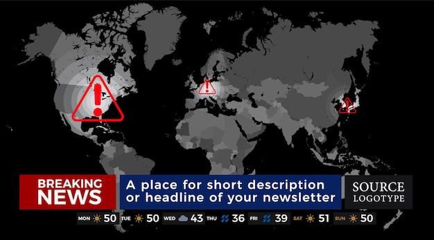 세계 지도가 있는 속보 뉴스 스트립 주간 날씨 스트립이 있는 텔레비전 데일리 핫 뉴스 템플릿