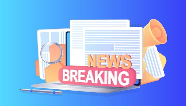 Breaking news subscribe to channel blog social media background marketing notification