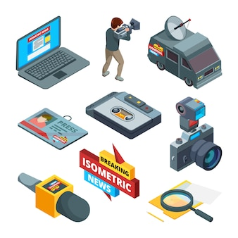 Breaking news symbols. isometric pictures of writers videographers and journalists