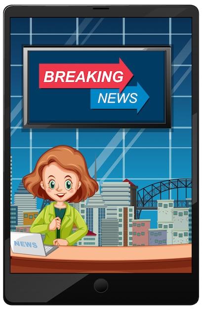 Breaking news on tablet screens