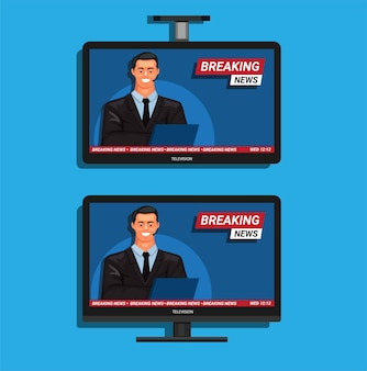 Breaking news on television desk and roof stand set